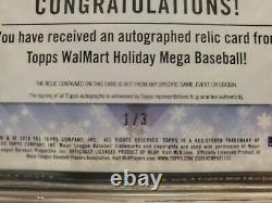 Mike Trout 2018 Topps Auto Relic GU Game Used 3 Color Patch #1/3 BGS 9 with 10 sb