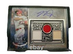 Mike trout 2021 Topps Sterling Triple Game Used jersey and bat Auto 6/10