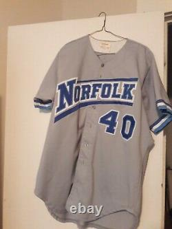 NY METS 1994/1995 AAA Norfolk Tides Game Used Baseball Jersey #40 Team COA