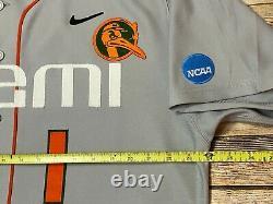 Nike MIAMI HURRICANES Jersey GAME CUT Away Grey #1 NCAA College Baseball 48 Rare