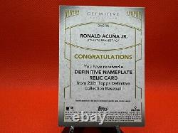 ONE OF ONE RONALD ACUNA 2021 Topps Definitive GAME USED NAMEPLATE RELIC A 1/1