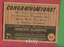 Roberto Clemente Game Used Bat Card 2003 Topps Diamond Cuts Pittsburgh Pirates