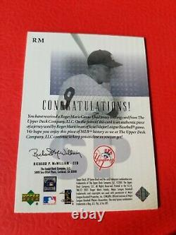 Roger Maris Game Used Jersey Card 2001 Sp Game Used Edition Fabric Ny Yankees
