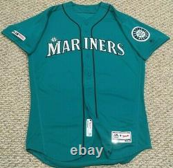 SEAGER #15 size 44 2019 Mariners game used jersey home teal 150 patch MLB HOLO