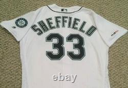SHEFFIELD size 44 #33 2019 Seattle Mariners game used jersey home white MLB HOLO