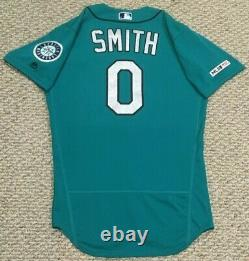 SMITH size 40 #0 2019 Seattle Mariners game used jersey home teal 150 MLB holo