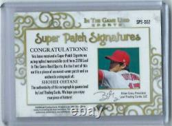 Shohei Ohtani 2018 Leaf In The Game Used 3/4 Auto Patch Rc Rookie