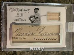 Ted Williams 2017 Flawless Cut Auto Game Bat Sp #09/25 Jersey #. 1/1