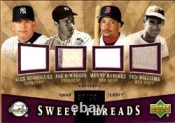 Ted Williams/Joe DiMaggio/Alex Rodriguez/Ramirez 2004 Sweet Spot 4-Jersey FREE S