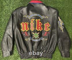 Vintage Nike Baseball All-Star Game Leather Jacket Rare Geisha Spike Lee Size XL