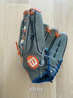 Wilson 2017 A2K David Wright Game Model Baseball Glove, Grey/Royal/Orange, 12