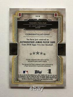 Yadier Molina Auto 2018 Topps Five Star JUMBO Game Used PATCH Autograph SP/25