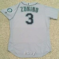 ZUNINO size 48 #3 2018 Seattle Mariners game used jersey road gray MLB HOLOGRAM