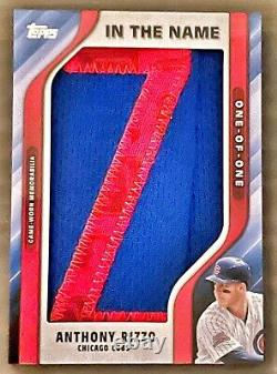 1/1 2021 Topps In The Name Game Used Letter Z Jersey Patch Anthony Rizzo Cubs