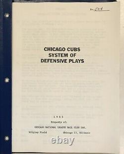 1965 Chicago Cubs Jeu Utilisé Baseball Système Défensif Playbook Super Rare