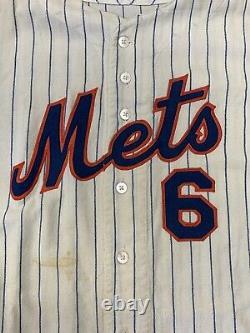 1967 Bart Shirley New York Mets Jeu Utilisé Accueil Flannel Jersey #6 All Original