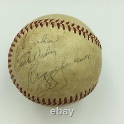 1967 Joe Dimaggio & Reggie Jackson Rookie Signé Jeu Utilisé Al Baseball Jsa Coa