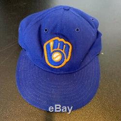 1983 Robin Yount Signé Jeu Utilisé Milwaukee Brewers Baseball Hat Mears Et Jsa Coa