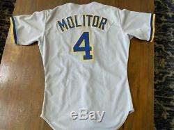 1988-1992 Paul Molitor Brewers Jeu Occasion Et Chandail Autographié Baseball -mears Loa