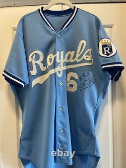 1990 Jeu Worn Signé Willie Wilson Kansas City Royals Road Jersey