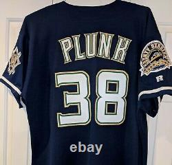 1999 Eric Plunk Mil, Brewers Jeu Utilisé Jersey -ironworker & County Stad. Correctifs