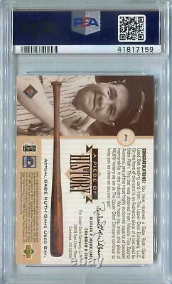 1999 Upper Deck Morceau D'histoire #ph Babe Ruth Jeu Utilisé Bat Psa 9 (monnaie)