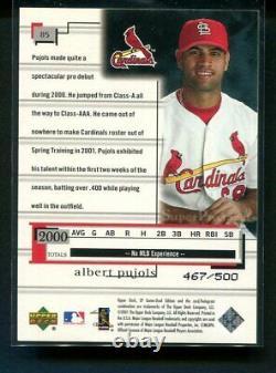 2001 Ud Sp Jeu Utilisé Albert Pujols Rookie Rc Super Prospects 467/500