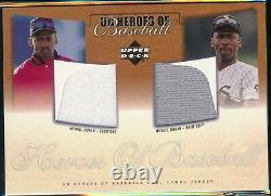 2001 Upper Deck Michael Jordan Heroes Of Baseball Double Jeu Utilisé Jersey Card