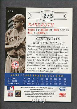 2003 Leaf Limited Tnt #152 Babe Ruth Jeu Utilisé Bat Game Worn Jersey Card #2/5