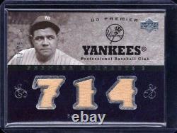 2007 Upper Deck Premier Remnants 3 Jeu Utilisé Babe Ruth Jersey Relic Card #/75