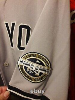 2009 Ny Yankees Aj Burnett Jeu Utilisé Grey Jersey Mears Coa Stade D'ouverture Patch