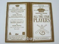 2010 Topps 206 Babe Ruth Mickey Mantle Dual Jeu Utilisé Jersey Usé - Bat #d 73/99
