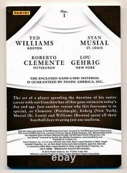 2015 Williams Immaculée Musial Clemente Gehrig Jeu Utilisé Tag Patch # 1/1
