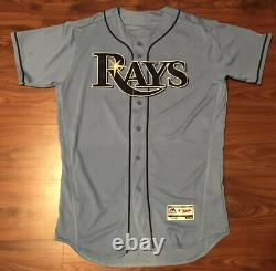 2016 Authentic Tampa Bay Rays Jaff Decker Blue Game Used Worn Jersey Team Paper