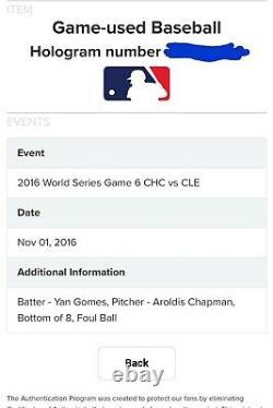 2016 Jeu Aroldis Chapman Utilisé Pitched 100 Mph World Series Ball! Cubs De Chicago