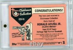 2018 Heritage Ronald Acuna Jr. Jeu Utilisé 3 Color Rookie Patch 13/99 Jersey # 1/1