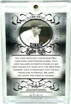 2019 Leaf Metal Babe Ruth Quad Jeu Used Bat Card Relic Gold Wave Réfractaire 1/1