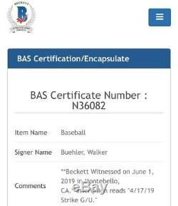 2019 Walker Buehler Jeu Anciens Et D'occasion Baseball Inscribed 17/04/19 Grève G / U Auto