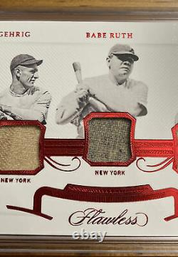 2020 Flawless Lou Gehrig Babe Ruth Earl Averill 10/10 Jeu Used Jersey And Bat