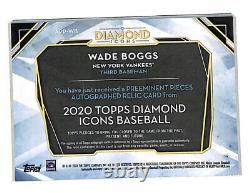 2020 Topps Diamond Icônes Wade Boggs 2/3 Auto Jeu Utilisé Carte De Cleat Yankees Hof