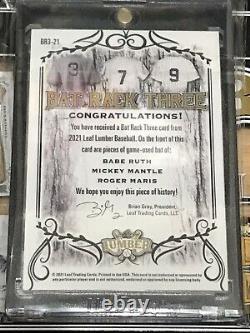 2021 Leaf Lumber Kings Babe Ruth, Bat Rack Three Game Used Bat Relic 1/1