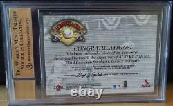 Albert Pujols 2001 Fleer Bgs 9.5 Auto On Game Used Bat Signé Lumberjacks Rare