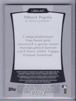 Albert Pujols 2009 Topps Jeu Unique Utilisé Jersey Button Auto Signé Cardinals /6