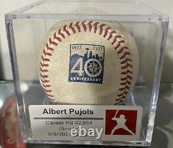 Albert Pujols Jeu Utilisé Carrière Hit 2,954 Mariners Logo Baseball Mlb Holo