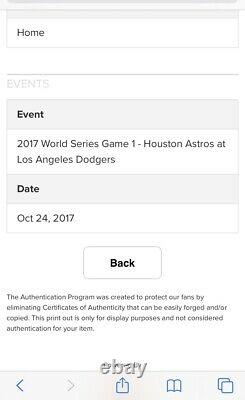 Andre Ethier 2017 Mlb Débuts World Series Game Used Worn Jersey Dodgers Mlb Auth