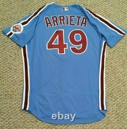 Arrieta #49 Taille 48 2020 Philadelphia Phillies Accueil Retro Jeu Utilisé Jersey Mlb