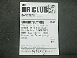 Babe Ruth 2003 Topps Hommage 600 Hr Club Jeu Bat D'occasion #br New York Yankees Wow