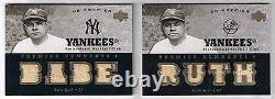 Babe Ruth 2007 Ud Premier Jeu Utilisé 8 Pièces Jersey # 4/5 Ny Yankees Hof Ssp