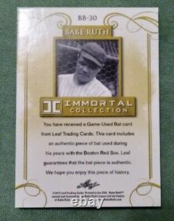 Babe Ruth 2017 Leaf Immortals Jeu Utilisé Bat Barrel 1/1 Red Sox Relic