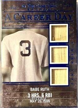 Babe Ruth 2020 Leaf Dans Le Jeu Triple Jeu Utilisé Bat Carte De Carrière Jour 7/12